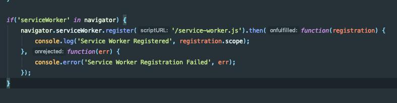 aem app.js file adding ServiceWorker