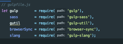 gulp commands to require packages